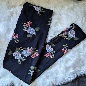 Warm Fleece Floral Leggings